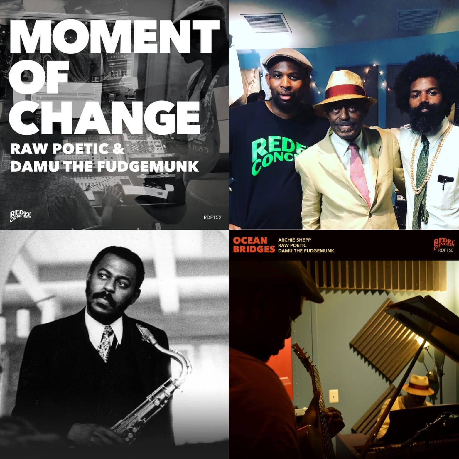 Review: Moment of Change and Ocean Bridges by Archie Shepp, Damu the Fudgemunk, and Raw Poetic